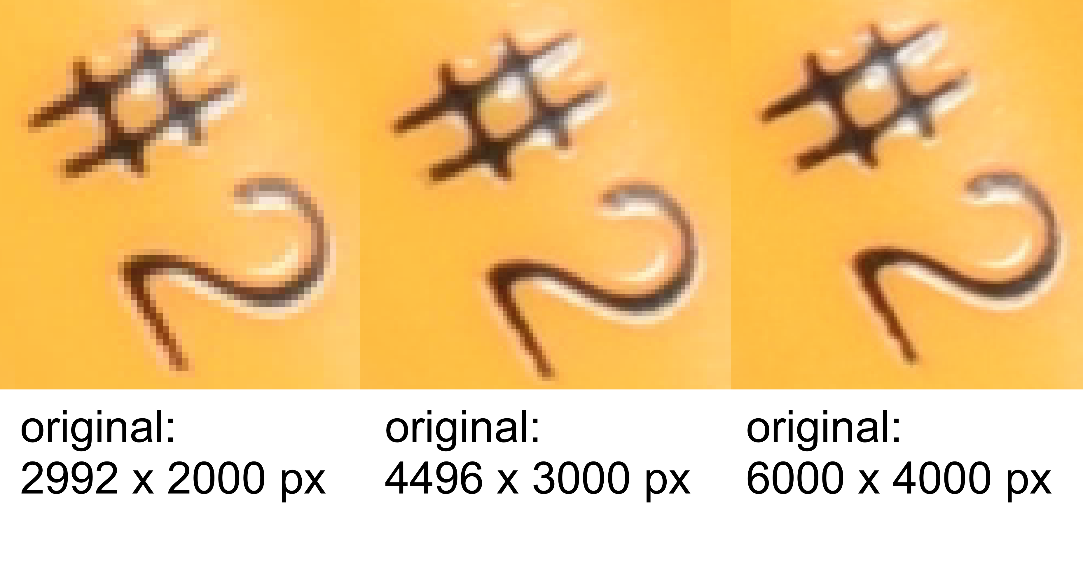 "Comparison image showing three different very small crops of the above still life; all three images are only the ""#2"" written on the pencil. From left to right, the pixelation of the ""#2"" decreases as the original image quality increases from small to medium to large."