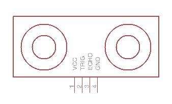 Ultrasonic ranger schematic. Inside of a horizontal rectangle are two circles, representing the ultrasonic transmitter and receiver. Four labeled wires stick out of the bottom center of the rectangle: VCC, trigger, echo, and ground.
