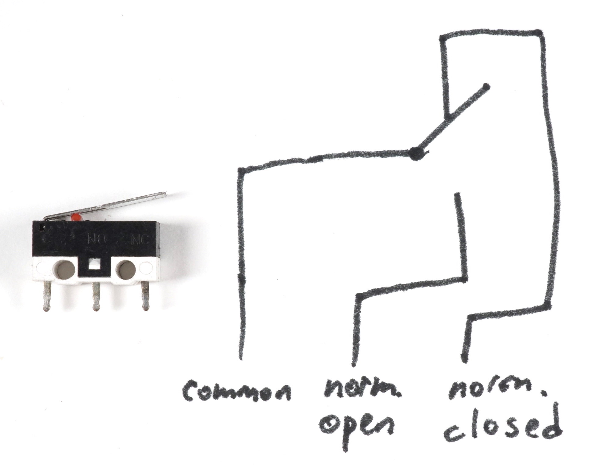 Reading Buttons And Switches Single Pole Double Throw Limit Switch Wiring Diagram Image Of A Small On Its Side With Three Legs The Top